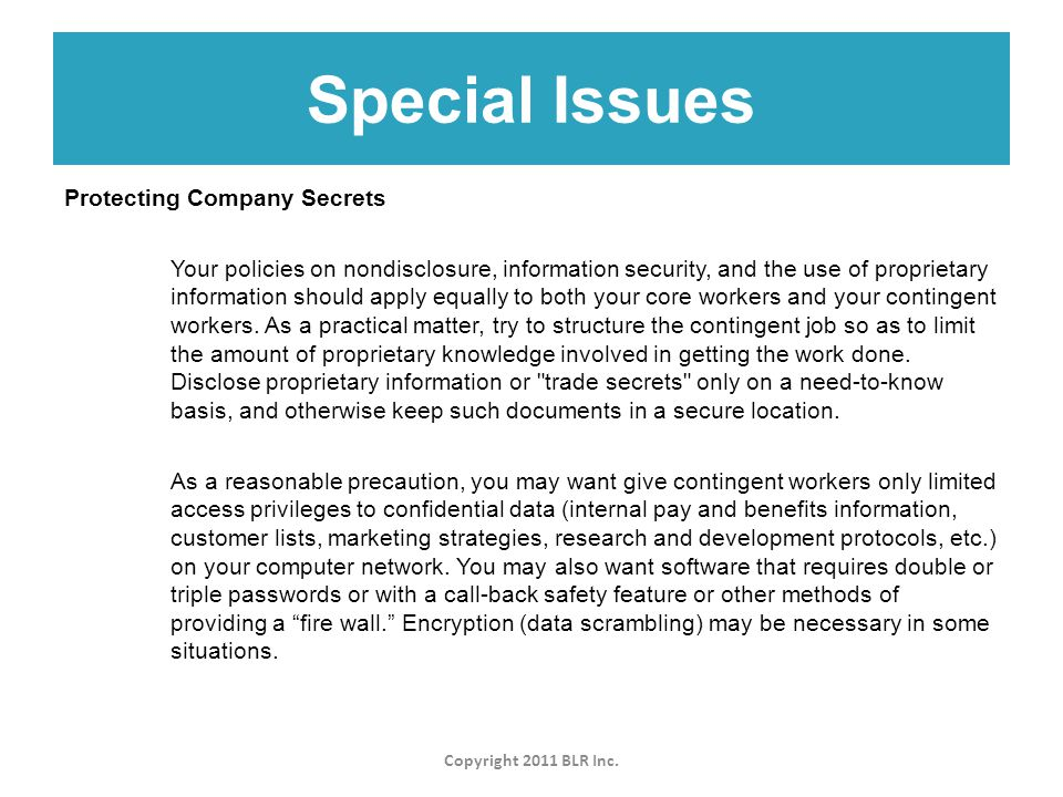 Special Issues Copyright 2011 BLR Inc.