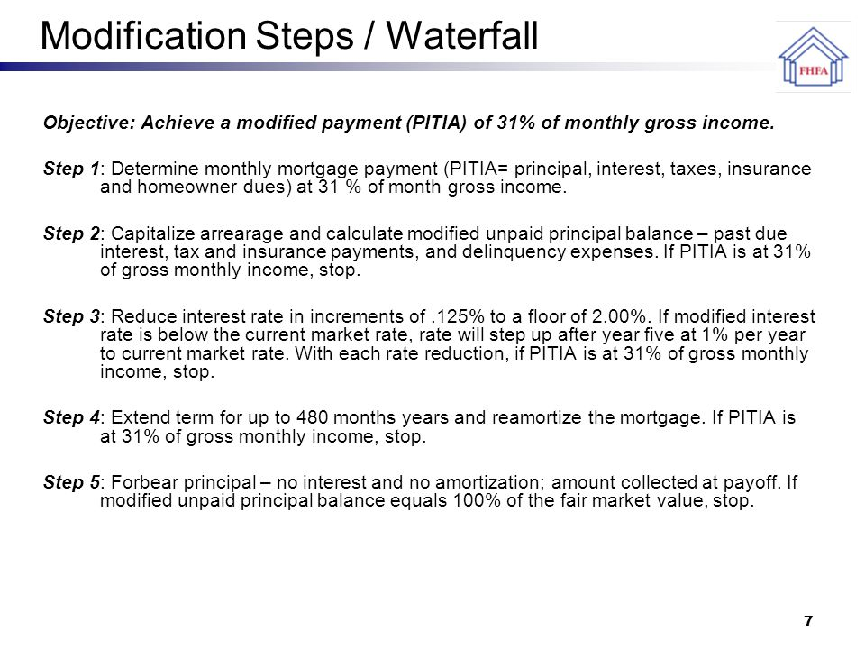 7 Modification Steps / Waterfall Objective: Achieve a modified payment (PITIA) of 31% of monthly gross income.