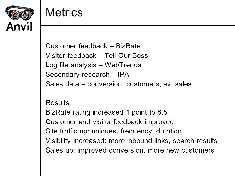 Metrics Customer feedback – BizRate Visitor feedback – Tell Our Boss Log file analysis – WebTrends Secondary research – IPA Sales data – conversion, customers, av.