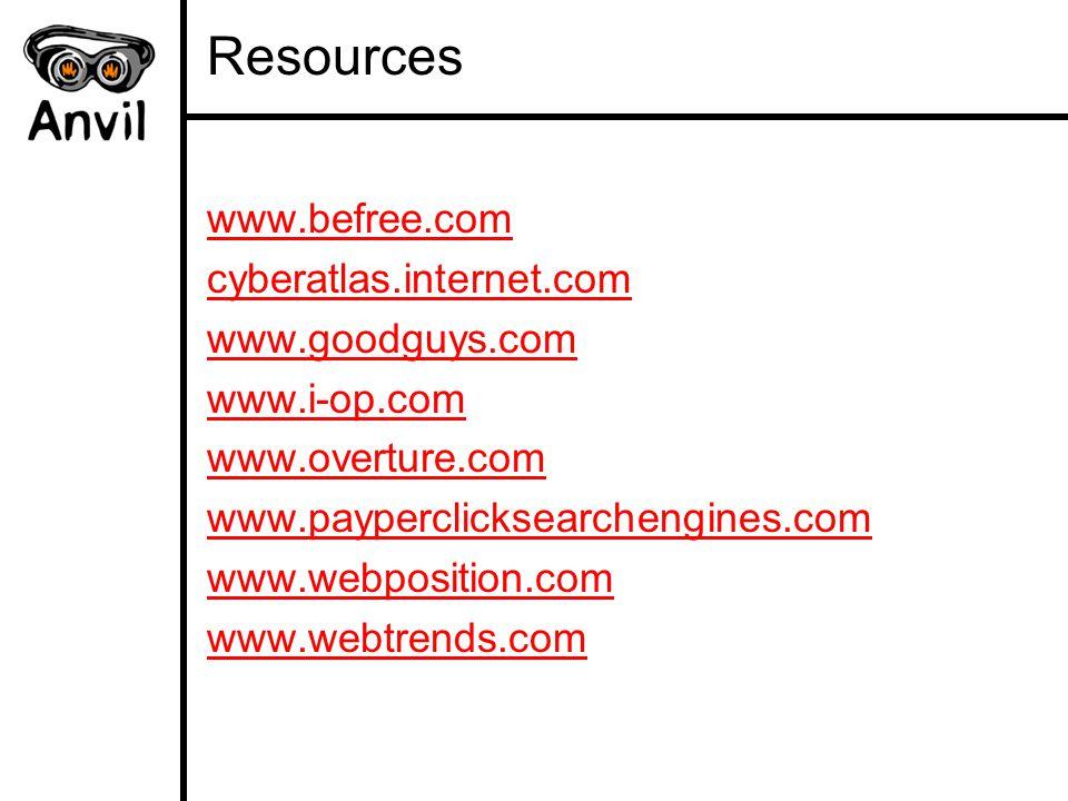 Resources www.befree.com cyberatlas.internet.com www.goodguys.com www.i-op.com www.overture.com www.payperclicksearchengines.com www.webposition.com www.webtrends.com