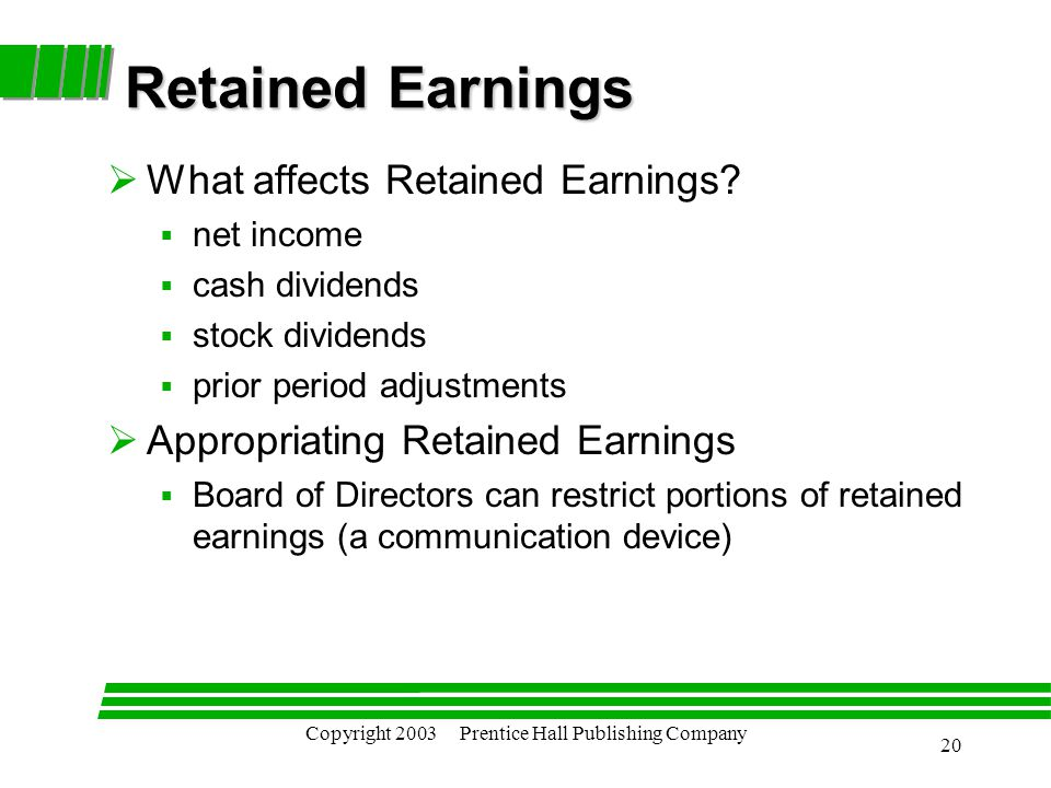 Copyright 2003 Prentice Hall Publishing Company 20 Retained Earnings  What affects Retained Earnings.