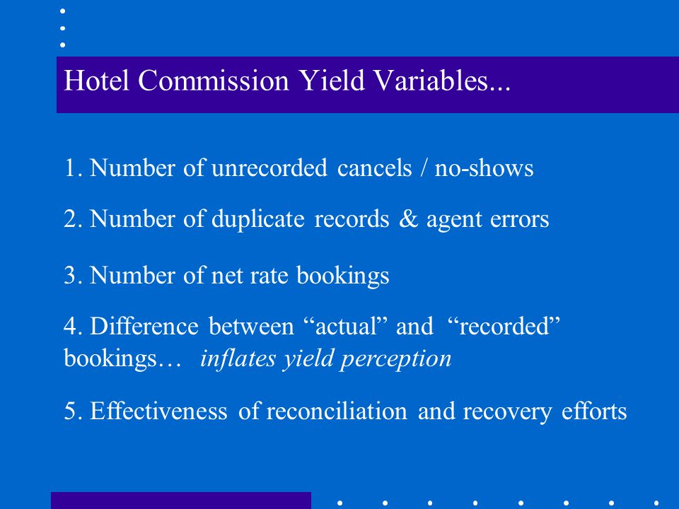 The Current Marketplace Don't assume a 10% commission yield on hotel sales Realistic hotel commission yields* of 5% to 8.5% are still way ahead of current airline yields of about 3.76% (ARC, June 2001) *Gross commission divided by recorded hotel sales The Bad News...