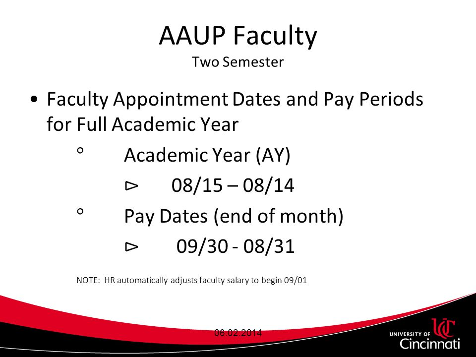 AAUP Faculty Two Semester Faculty Appointment Dates and Pay Periods for Full Academic Year ° Academic Year (AY) ⊳ 08/15 – 08/14 ° Pay Dates (end of month) ⊳ 09/30 - 08/31 NOTE: HR automatically adjusts faculty salary to begin 09/01 06.02.2014