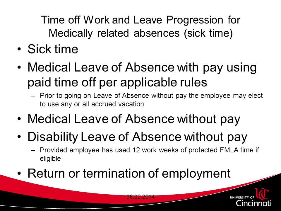 Time off Work and Leave Progression for Medically related absences (sick time) Sick time Medical Leave of Absence with pay using paid time off per applicable rules –Prior to going on Leave of Absence without pay the employee may elect to use any or all accrued vacation Medical Leave of Absence without pay Disability Leave of Absence without pay –Provided employee has used 12 work weeks of protected FMLA time if eligible Return or termination of employment 06.02.2014