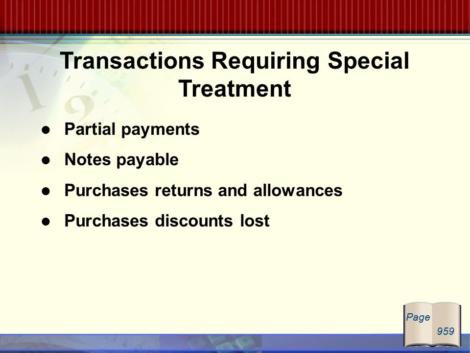 Partial payments Notes payable Purchases returns and allowances Purchases discounts lost Transactions Requiring Special Treatment Page 959