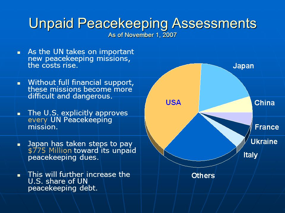 Unpaid Peacekeeping Assessments As of November 1, 2007 As the UN takes on important new peacekeeping missions, the costs rise. Without full financial