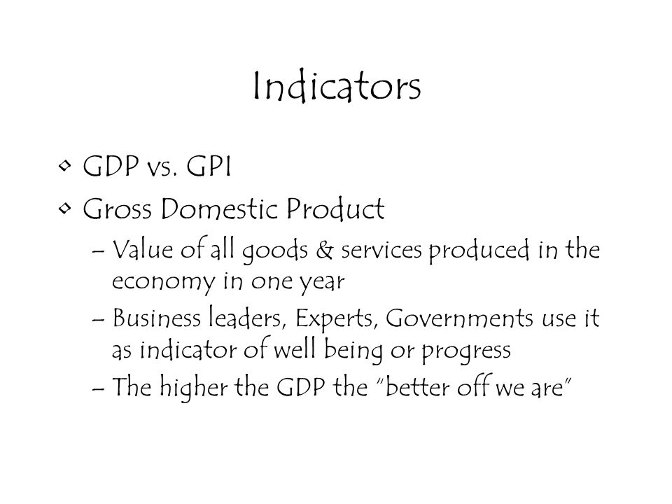 Indicators GDP vs.