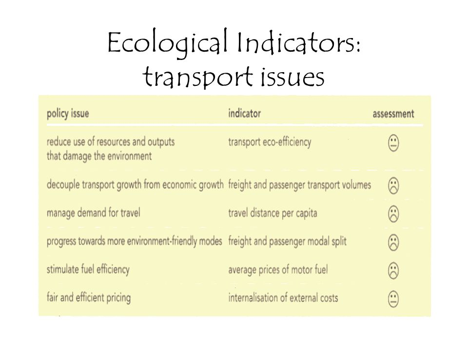 Ecological Indicators: transport issues