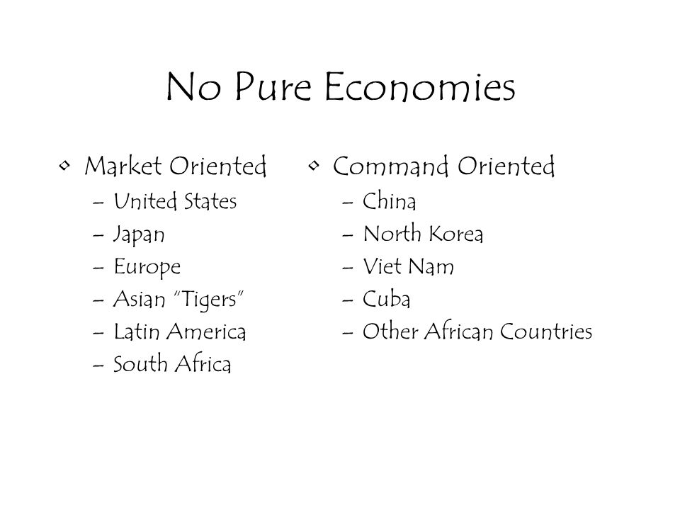 No Pure Economies Market Oriented –United States –Japan –Europe –Asian Tigers –Latin America –South Africa Command Oriented –China –North Korea –Viet Nam –Cuba –Other African Countries