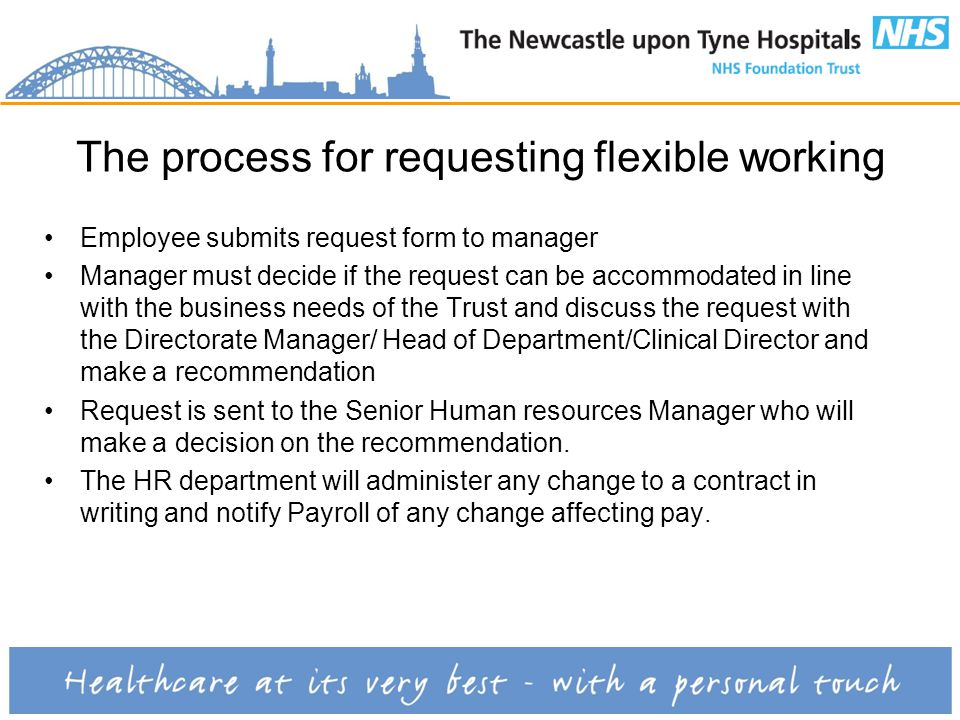 The process for requesting flexible working Employee submits request form to manager Manager must decide if the request can be accommodated in line with the business needs of the Trust and discuss the request with the Directorate Manager/ Head of Department/Clinical Director and make a recommendation Request is sent to the Senior Human resources Manager who will make a decision on the recommendation.