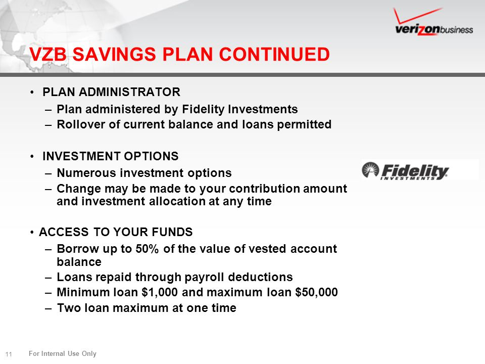 For Internal Use Only 11 VZB SAVINGS PLAN CONTINUED PLAN ADMINISTRATOR –Plan administered by Fidelity Investments –Rollover of current balance and loa