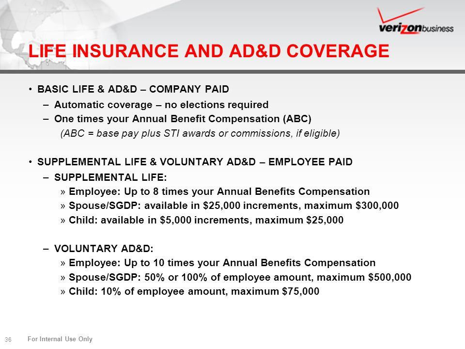 For Internal Use Only 36 LIFE INSURANCE AND AD&D COVERAGE BASIC LIFE & AD&D – COMPANY PAID –Automatic coverage – no elections required –One times your