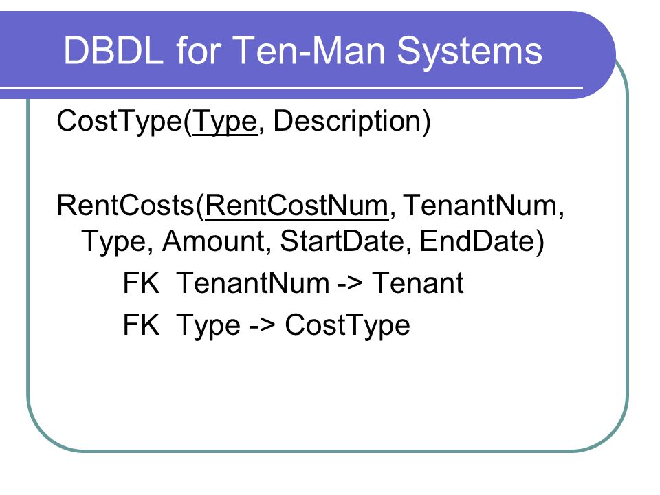 DBDL for Ten-Man Systems CostType(Type, Description) RentCosts(RentCostNum, TenantNum, Type, Amount, StartDate, EndDate) FK TenantNum -> Tenant FK Type -> CostType