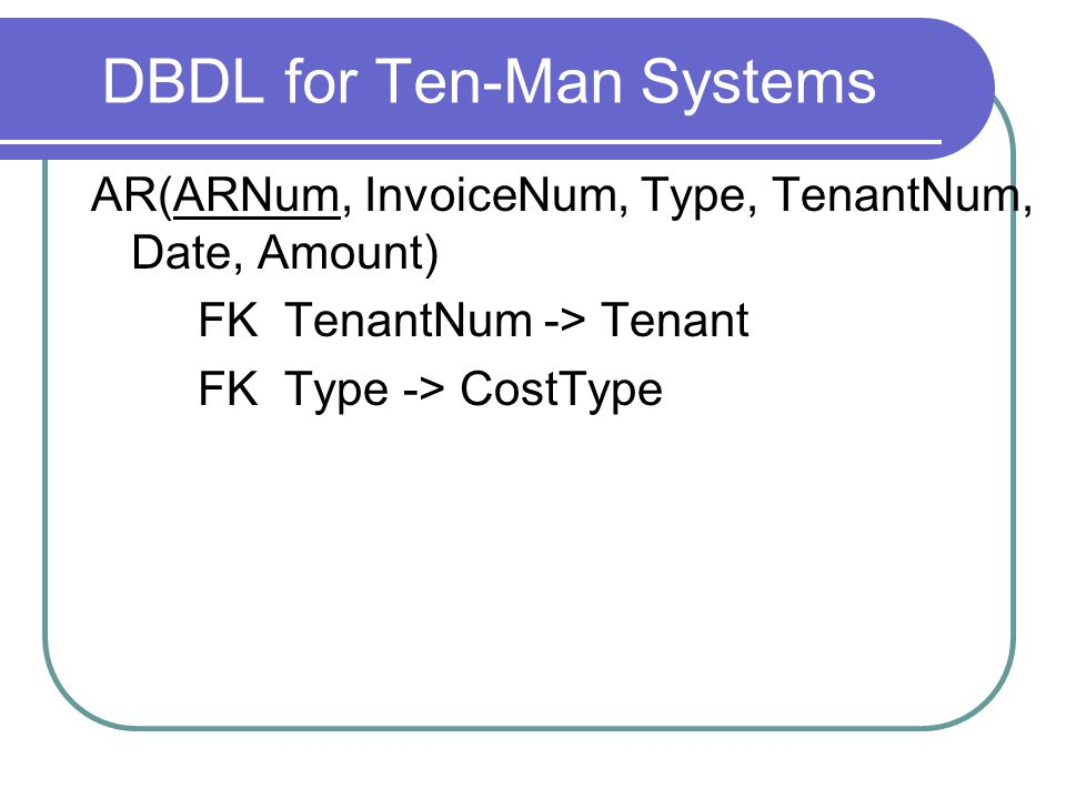 DBDL for Ten-Man Systems AR(ARNum, InvoiceNum, Type, TenantNum, Date, Amount) FK TenantNum -> Tenant FK Type -> CostType