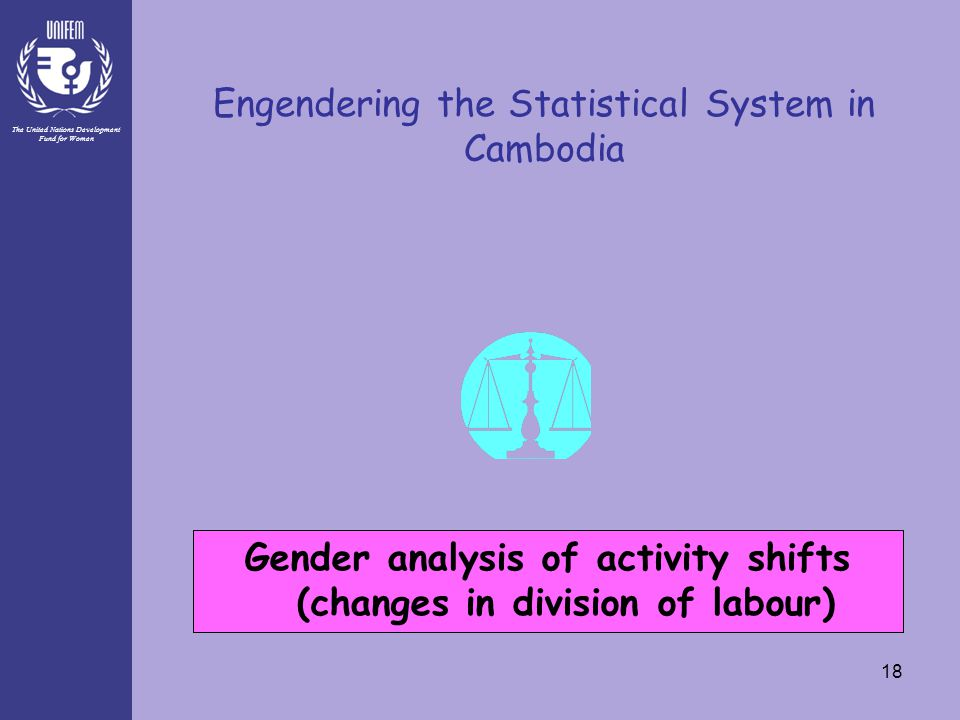 The United Nations Development Fund for Women 18 Engendering the Statistical System in Cambodia Gender analysis of activity shifts (changes in divisio