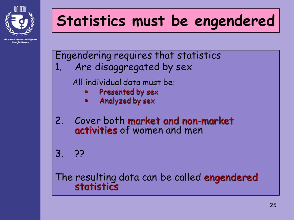 The United Nations Development Fund for Women 25 Statistics must be engendered Engendering requires that statistics 1.Are disaggregated by sex All ind