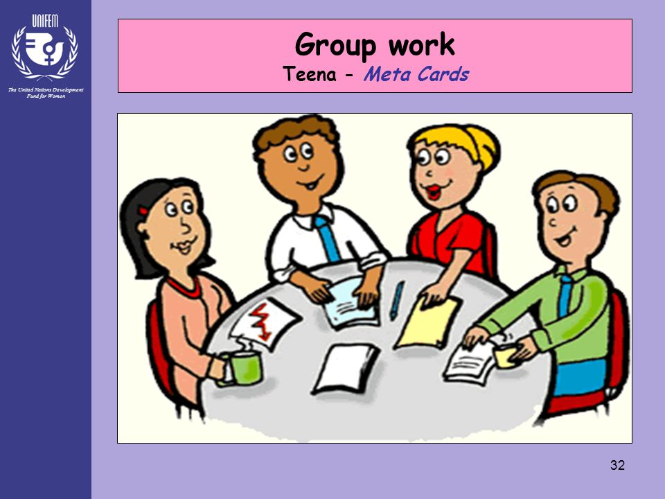 The United Nations Development Fund for Women 32 Group work Teena - Meta Cards