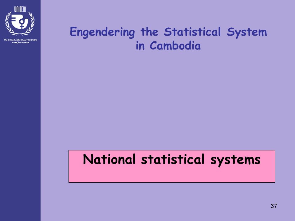 The United Nations Development Fund for Women 37 Engendering the Statistical System in Cambodia National statistical systems