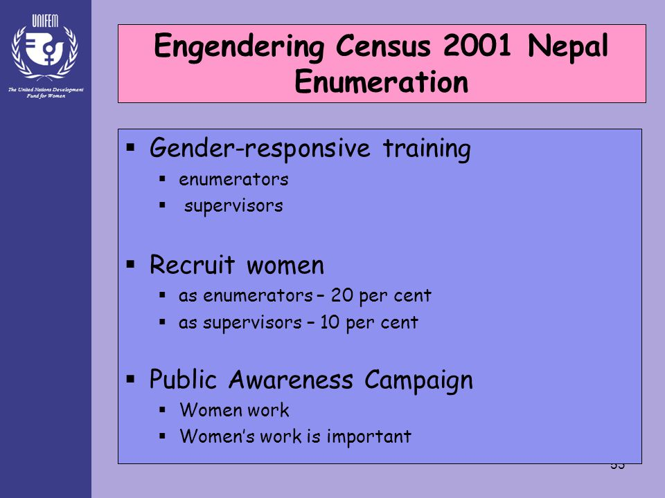 The United Nations Development Fund for Women 53 Engendering Census 2001 Nepal Enumeration Phase  Gender-responsive training  enumerators  supervisors  Recruit women  as enumerators – 20 per cent  as supervisors – 10 per cent  Public Awareness Campaign  Women work  Women's work is important Engendering Census 2001 Nepal Enumeration