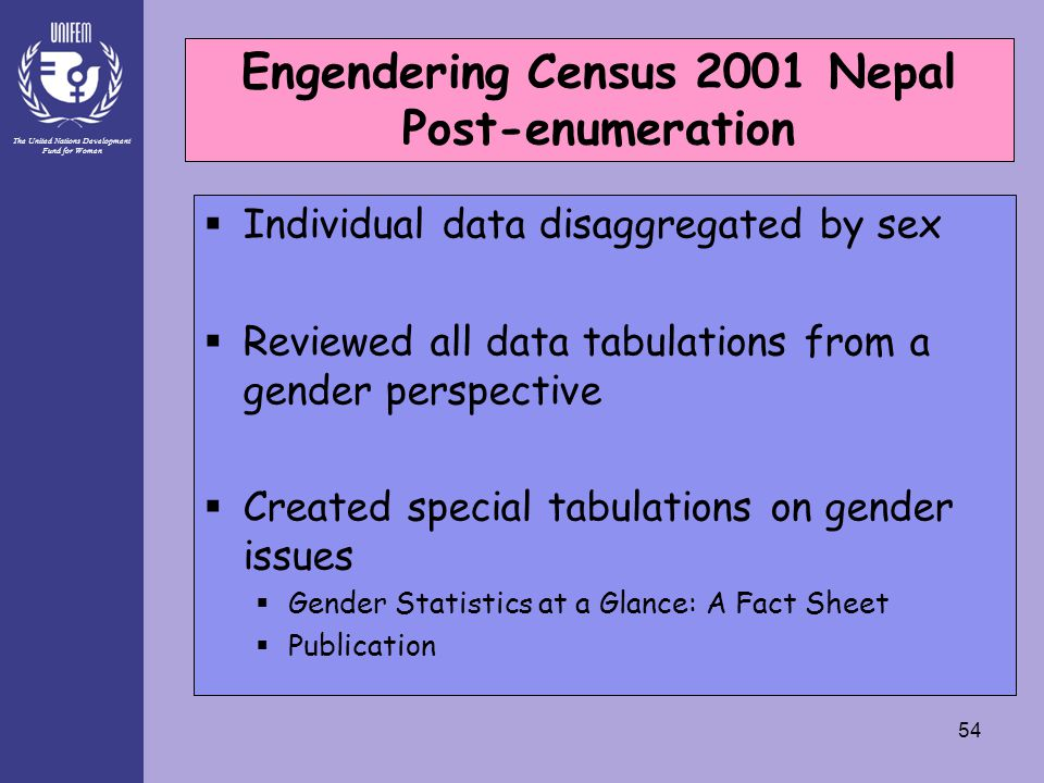 The United Nations Development Fund for Women 54  Individual data disaggregated by sex  Reviewed all data tabulations from a gender perspective  Created special tabulations on gender issues  Gender Statistics at a Glance: A Fact Sheet  Publication Engendering Census 2001 Nepal Post-Enumeration Engendering Census 2001 Nepal Post-enumeration