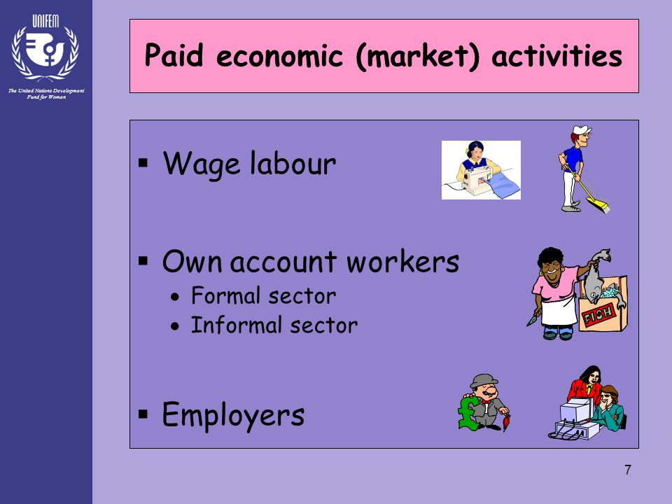 The United Nations Development Fund for Women 7 Paid economic (market) activities  Wage labour  Own account workers  Formal sector  Informal secto