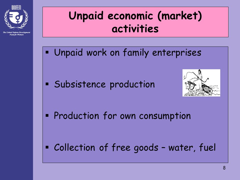 The United Nations Development Fund for Women 8 Unpaid economic (market) activities  Unpaid work on family enterprises  Subsistence production  Production for own consumption  Collection of free goods – water, fuel