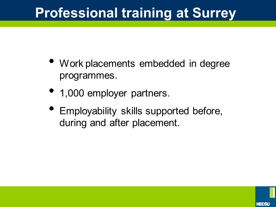 Professional training at Surrey Work placements embedded in degree programmes.