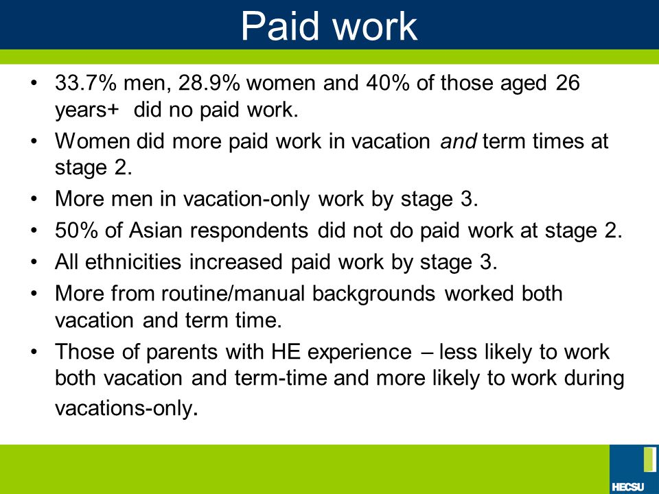 Paid work 33.7% men, 28.9% women and 40% of those aged 26 years+ did no paid work.