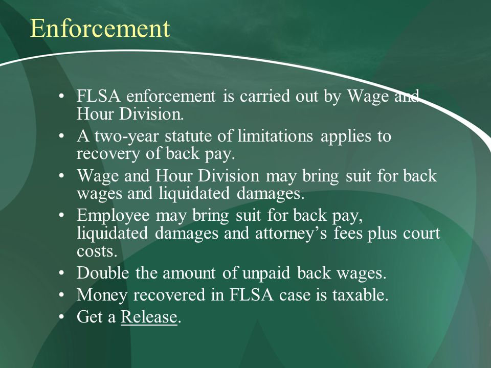 Enforcement FLSA enforcement is carried out by Wage and Hour Division.