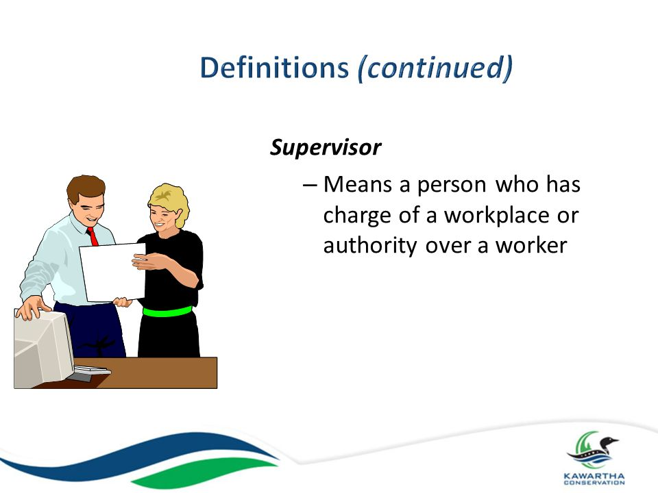 Competent person means a person who, a) Is qualified because of knowledge, training and experience to organize the work and its performance b) Is familiar with this Act and the regulations that apply to the work, and c) Has knowledge of any potential or actual danger to health and safety in the workplace