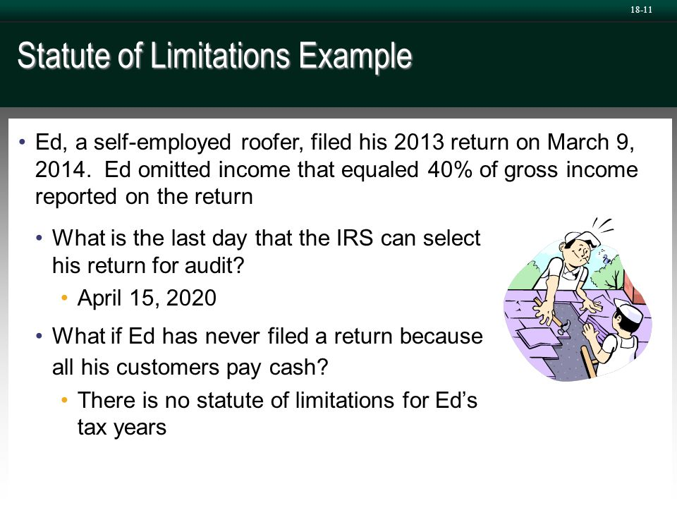 Statute of Limitations Example What is the last day that the IRS can select his return for audit? April 15, 2020 What if Ed has never filed a return b