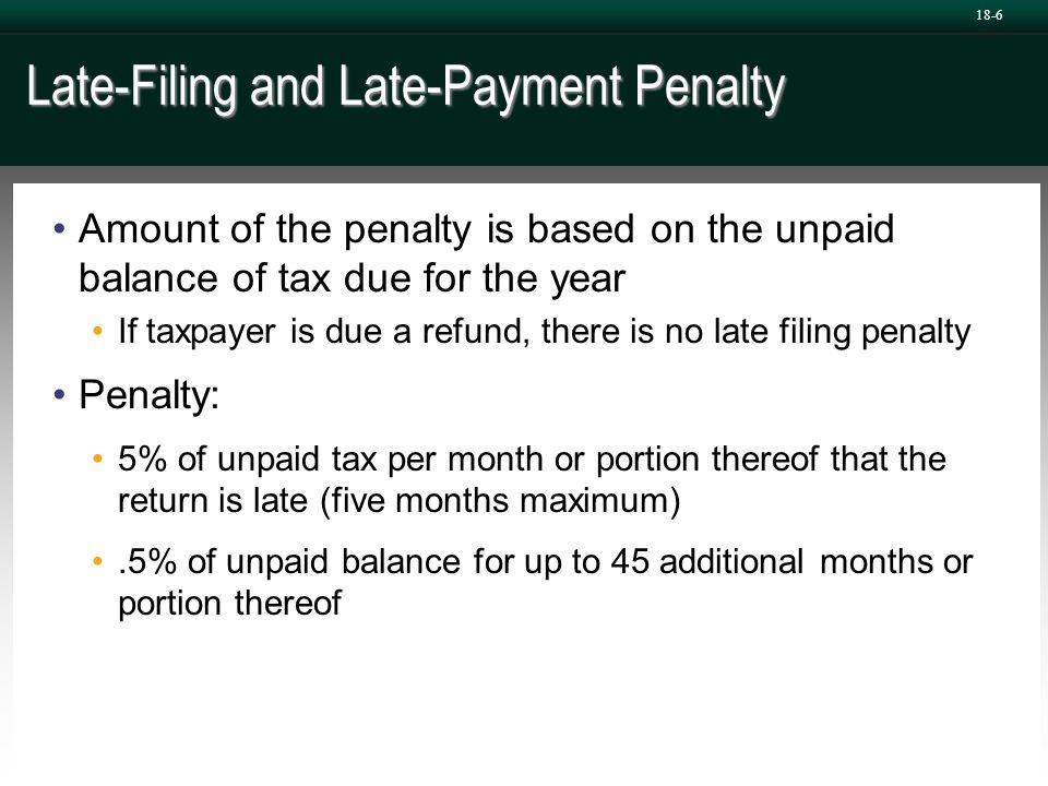 Late-Filing and Late-Payment Penalty Amount of the penalty is based on the unpaid balance of tax due for the year If taxpayer is due a refund, there i