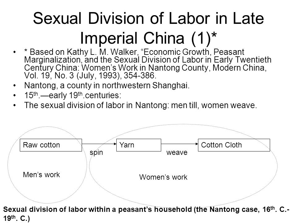 "Sexual Division of Labor in Late Imperial China (1)* * Based on Kathy L. M. Walker, ""Economic Growth, Peasant Marginalization, and the Sexual Division"