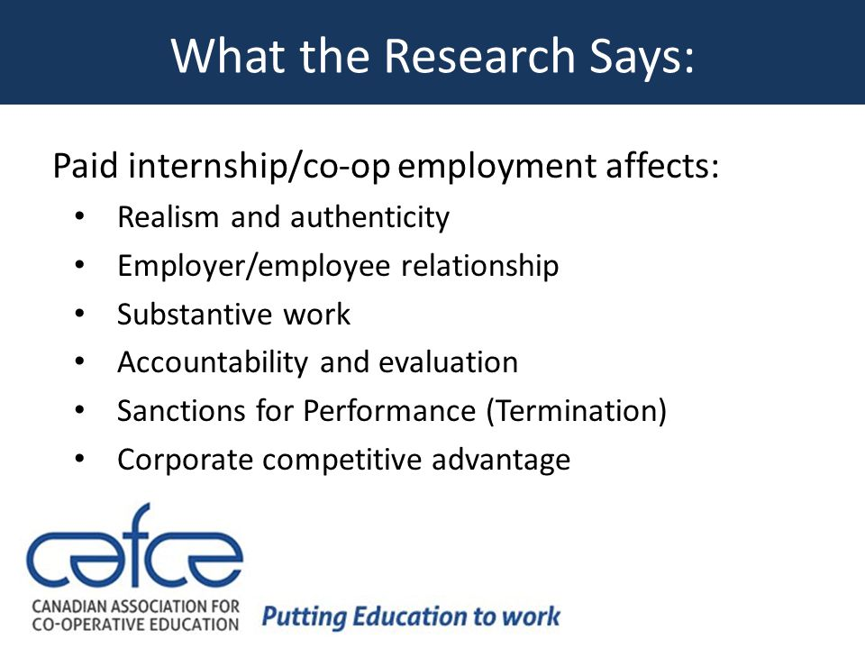 What the Research Says: Paid internship/co-op employment affects: Realism and authenticity Employer/employee relationship Substantive work Accountability and evaluation Sanctions for Performance (Termination) Corporate competitive advantage