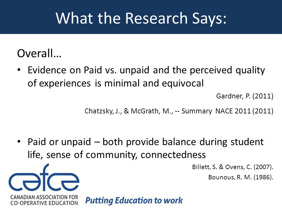 What the Research Says: Overall… Evidence on Paid vs.