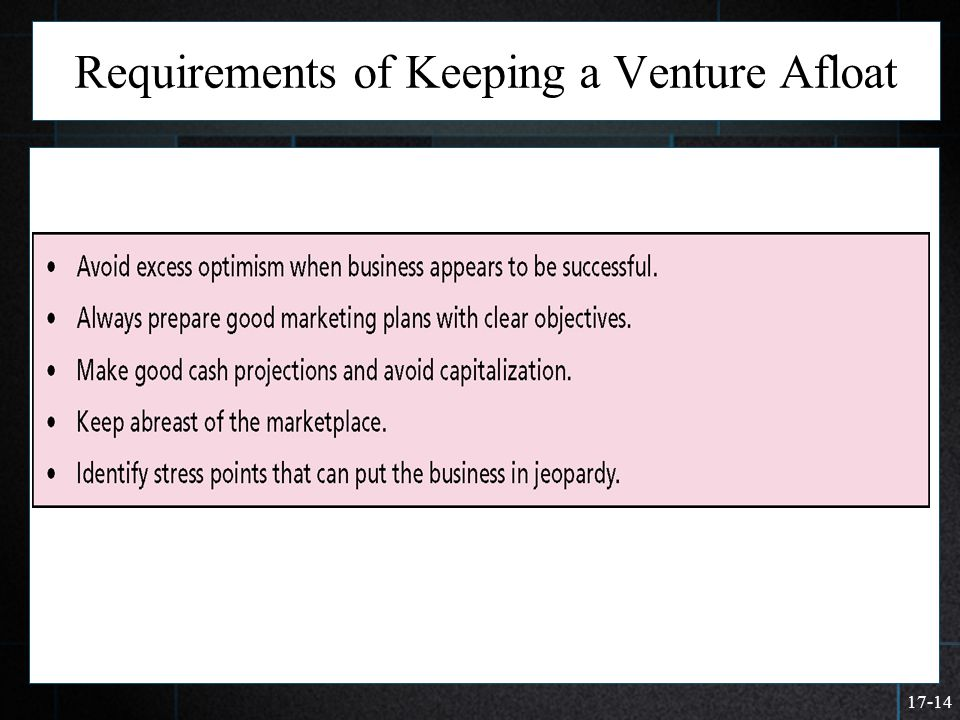 17-14 Requirements of Keeping a Venture Afloat  >