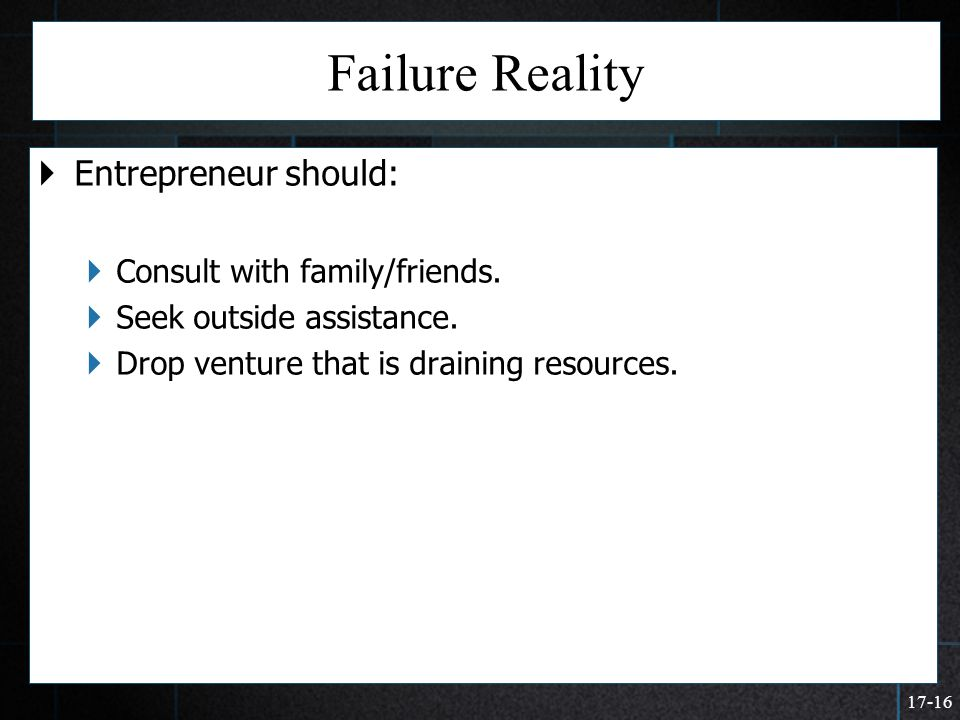 17-16 Failure Reality  Entrepreneur should:  Consult with family/friends.  Seek outside assistance.  Drop venture that is draining resources.