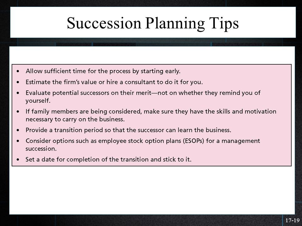 17-19 Succession Planning Tips  >