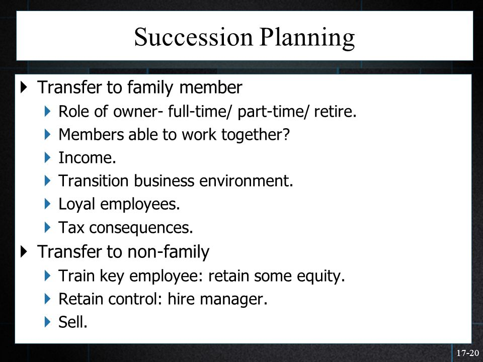 17-20 Succession Planning  Transfer to family member  Role of owner- full-time/ part-time/ retire.  Members able to work together?  Income.  Tran