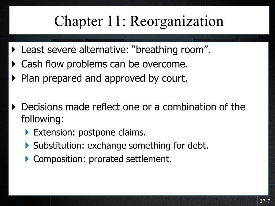 """17-7 Chapter 11: Reorganization  Least severe alternative: """"breathing room"""".  Cash flow problems can be overcome.  Plan prepared and approved by co"""
