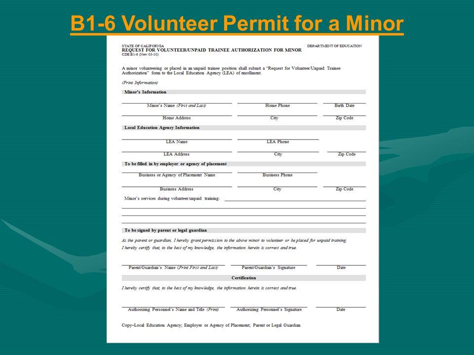 B1-6 Volunteer Permit for a Minor