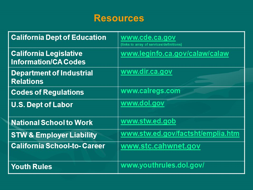 Resources California Dept of Educationwww.cde.ca.gov (links to array of services/definitions) California Legislative Information/CA Codes www.leginfo.ca.gov/calaw/calaw Department of Industrial Relations www.dir.ca.gov Codes of Regulations www.calregs.com U.S.