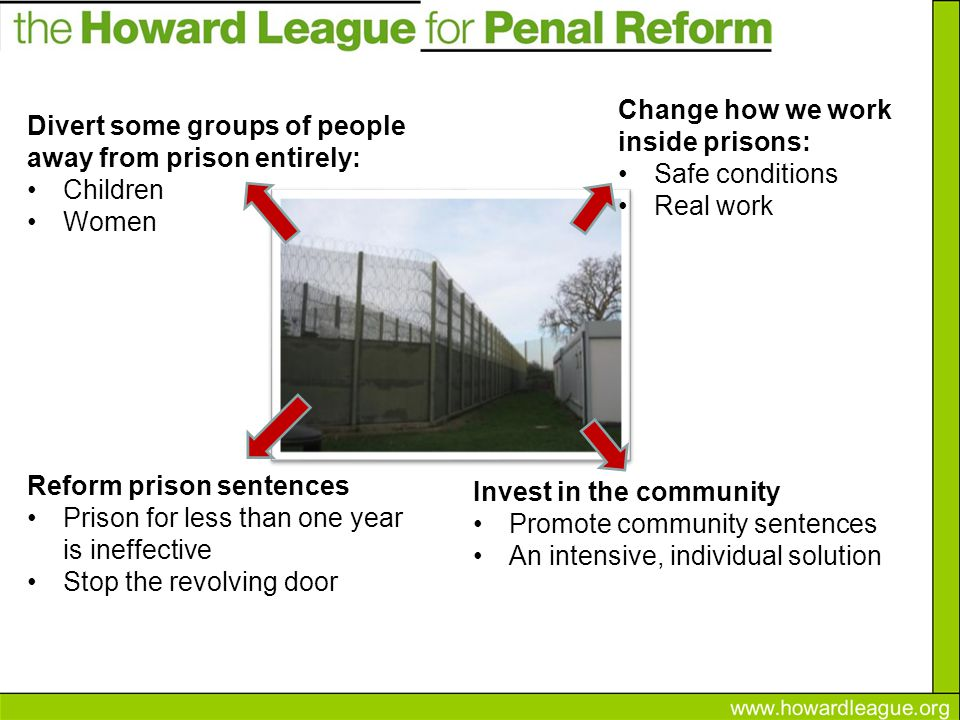 Divert some groups of people away from prison entirely: Children Women Change how we work inside prisons: Safe conditions Real work Reform prison sentences Prison for less than one year is ineffective Stop the revolving door Invest in the community Promote community sentences An intensive, individual solution