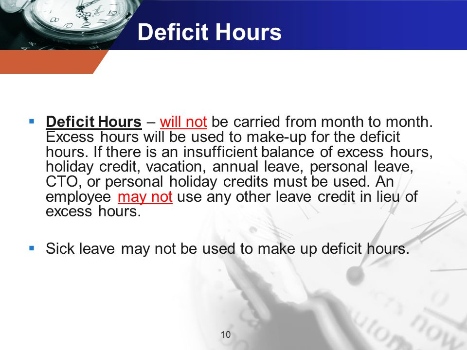 Deficit Hours  Deficit Hours – will not be carried from month to month.