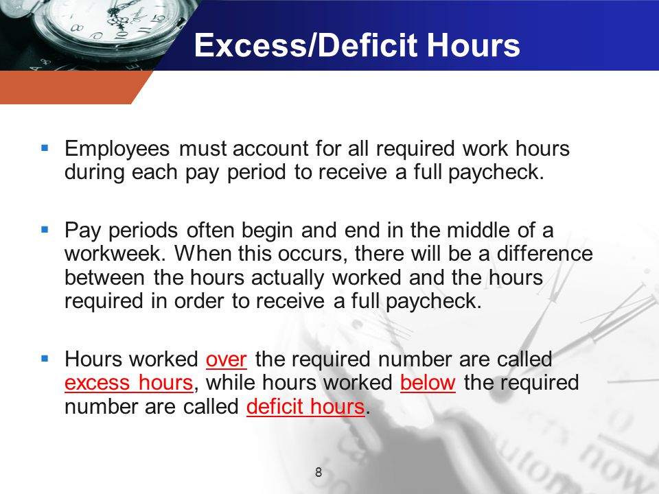 Excess/Deficit Hours  Employees must account for all required work hours during each pay period to receive a full paycheck.