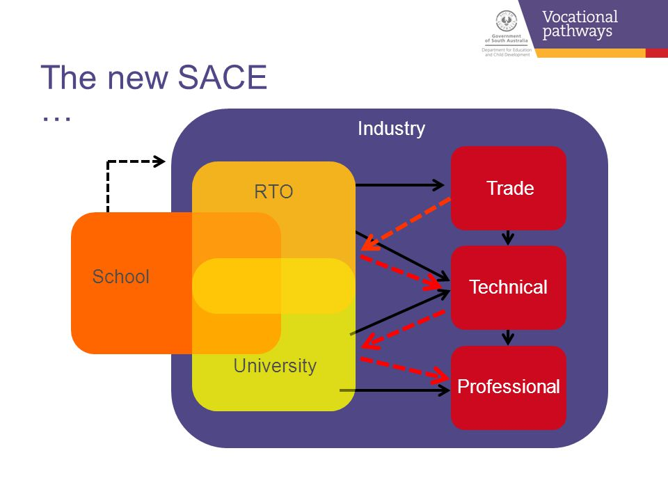 Trade Technical Professional The new SACE … Industry School University RTO