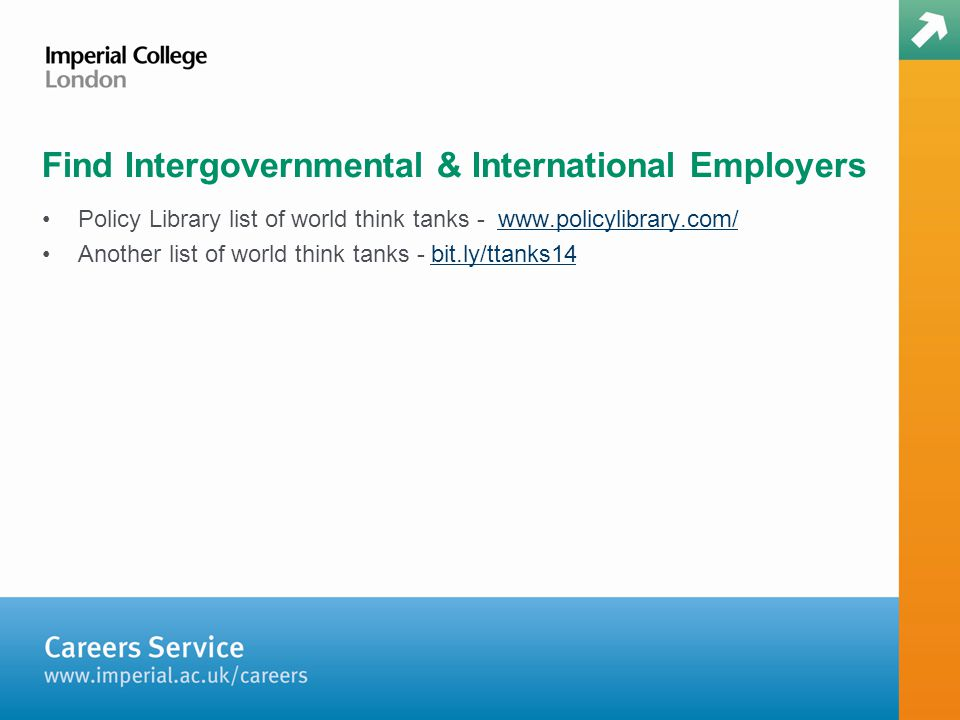 Policy Library list of world think tanks - www.policylibrary.com/www.policylibrary.com/ Another list of world think tanks - bit.ly/ttanks14bit.ly/ttanks14 Find Intergovernmental & International Employers