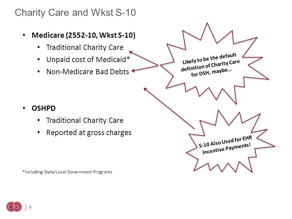 9 Charity Care and Wkst S-10 Medicare (2552-10, Wkst S-10) Traditional Charity Care Unpaid cost of Medicaid* Non-Medicare Bad Debts OSHPD Traditional Charity Care Reported at gross charges *Including State/Local Government Programs Likely to be the default definition of Charity Care for DSH, maybe… S-10 Also Used for EHR Incentive Payments!