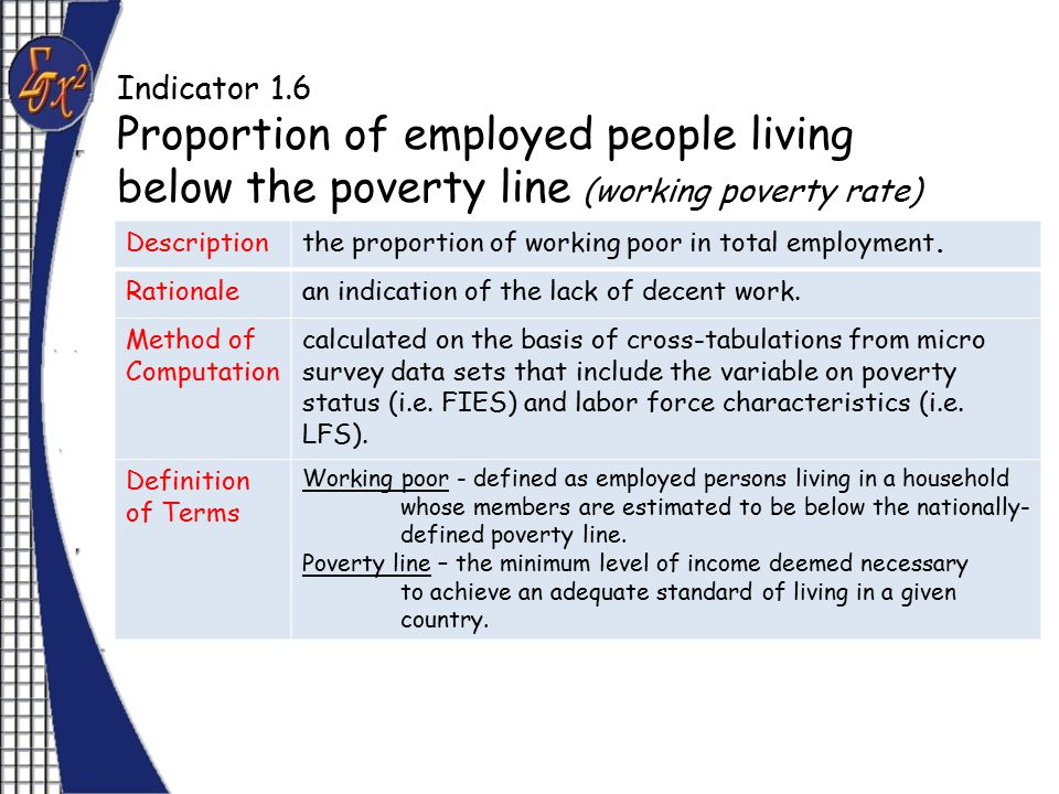 Indicator 1.6 Proportion of employed people living below the poverty line (working poverty rate) Descriptionthe proportion of working poor in total employment.