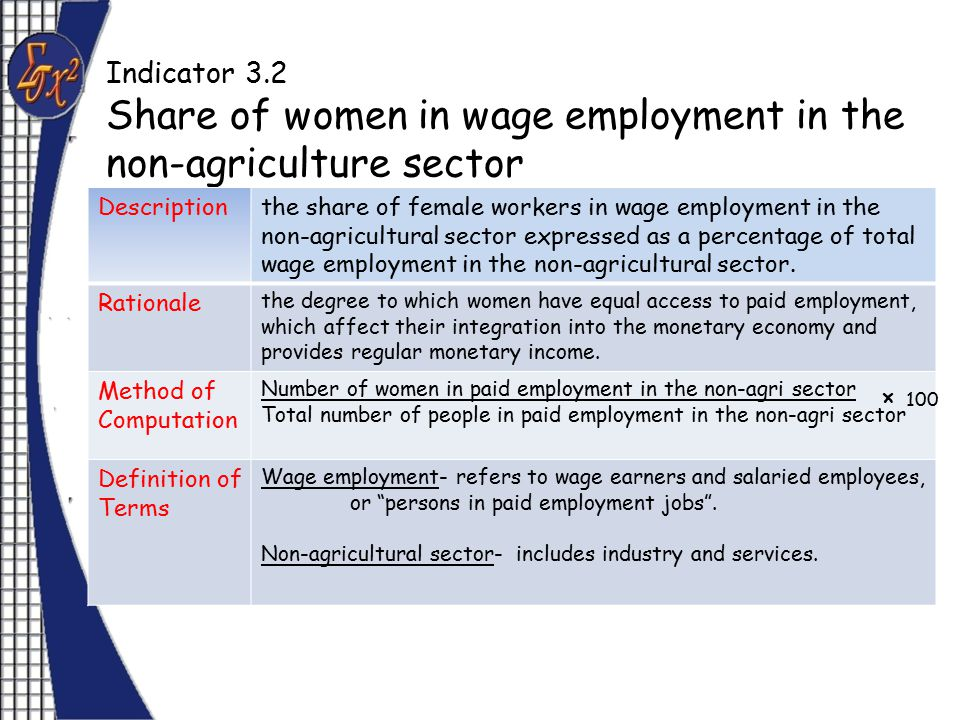 Indicator 3.2 Share of women in wage employment in the non-agriculture sector Descriptionthe share of female workers in wage employment in the non-agricultural sector expressed as a percentage of total wage employment in the non-agricultural sector.
